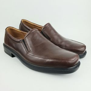 Ecco Brown Leather Loafers Slip On Shoes 10-10.5